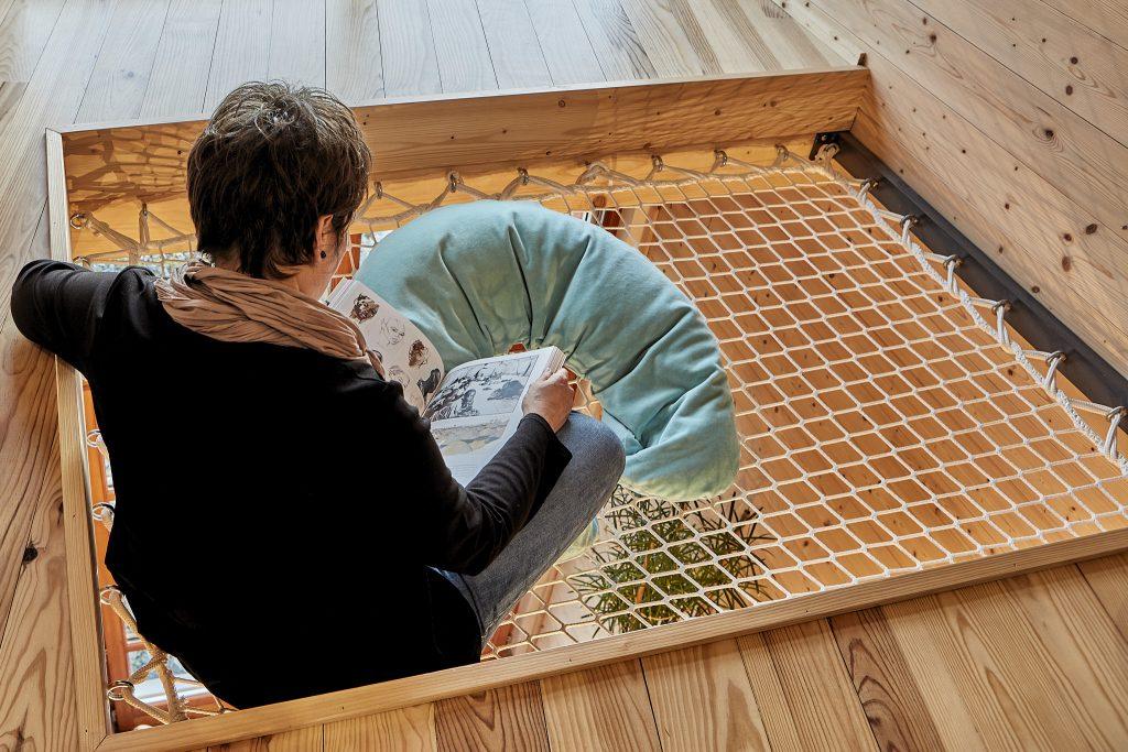 Création d'un filet suspendu à moindre frais. Création Créaéco Architecte DPLG Virginie Cherpin